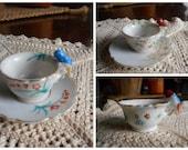 Set of Tea Cups & Saucers. Miniature Tea Party .White China Porcelain Bird tea cups floral saucers