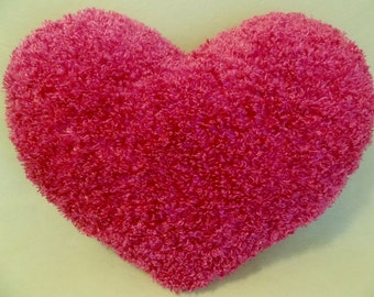 PINK HEART Shaggy Silky Throw Toss Heart Pillow * Huggable Comfy Pillow * Large Heart Pillow * 17 in. x 21- 1/2 in.* SOFT