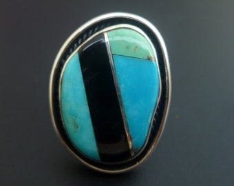 Handmade Sterling Silver and Contrasting Inlay Statement Ring - One of a kind  Ring with turquoise inlay - Turquoise Inlay Ring - Size 7.2