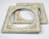 Vintage Picture Frame Pair Ornate Gesso Trim Distressed Oyster White and Gold 10 x 12