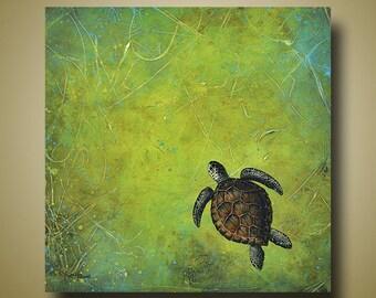Turtle Print - Sea Turtle - Green Art - Nautical Art - 12x12 - Limited Edition by Britt Hallowell