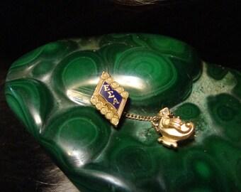 Vintage EPSILON SIGMA ALPHA Pin W/Seed Pearls,Chain & Keeper Greek Sorority,Fraternity