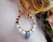 Mistletoe - Bronze Double-Wrapped Hoops with Labradorite Drops, White Jade, Moonstone, and Garnet