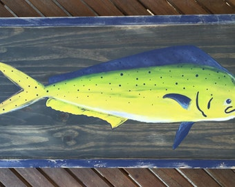 Mahi mahi dolphin painted on wood with distressed frame