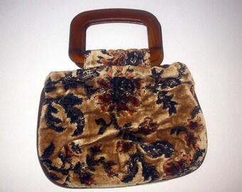 Velvet Carpet Bag Purse Black and Brown Flowers Wood Tone Handle 1970's