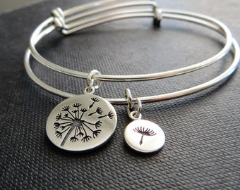 mother of the bride gift, dandelion bangle bracelet, mother daughter jewelry, flower charm bracelet