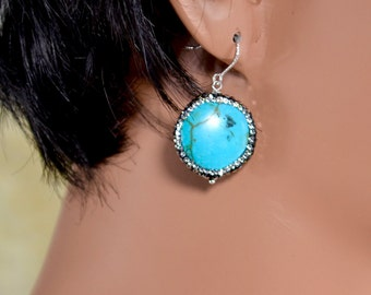 LP 1332   Coin Shaped Turquoise and Swarovski Rhinestone Earrings