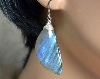 LP 1286 Blue Labradorite Asymmetrical Drop Earrings