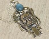 Skeleton Pendant,Skull  Pendant, Solid Silver Skull Skeleton Necklace, Silver Gothy Pendants,