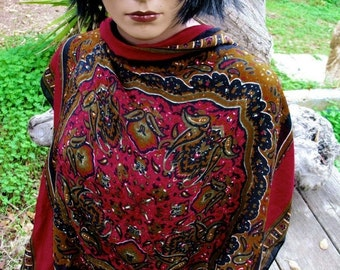 Gorgeous Jewel Tone Rayon Made In Italy  60s Paisley Gypsy 31 x 31 Scarf Square
