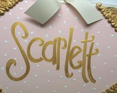 Bow Holder --- Vintage Baby Design - XLarge - Handpainted and Personalized HairBow Holder - Vintage Shabby Chic Nursery - Pink and Gold