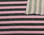 Pink and Black Striped Heathered French Terry Knit Sweatshirt Fabric, 1 Yard OTB