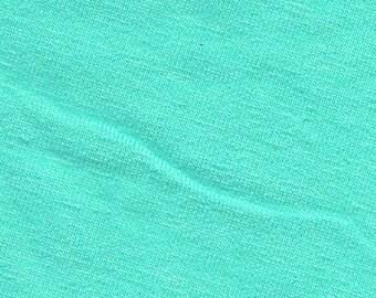 Solid Aqua Blue 4 Way Stretch 9oz Cotton Lycra Jersey Knit Fabric, 1 Yard