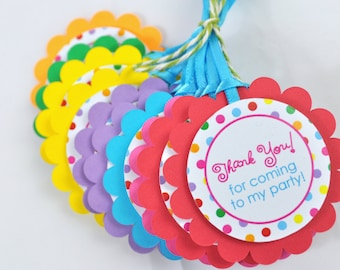 Party Favor Tags, Thank You Gift Tags, Rainbow Polkadots, Colorful, Birthdays, Baby Showers, Gift Tags - Set of 12 - READY TO SHIP