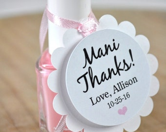 Mani Thanks Favor Tags - Baby Shower Favor Tags, Bridal Shower Favors, Wedding Favors - Nailpolish Favors, Personalized Favors - Set of 12