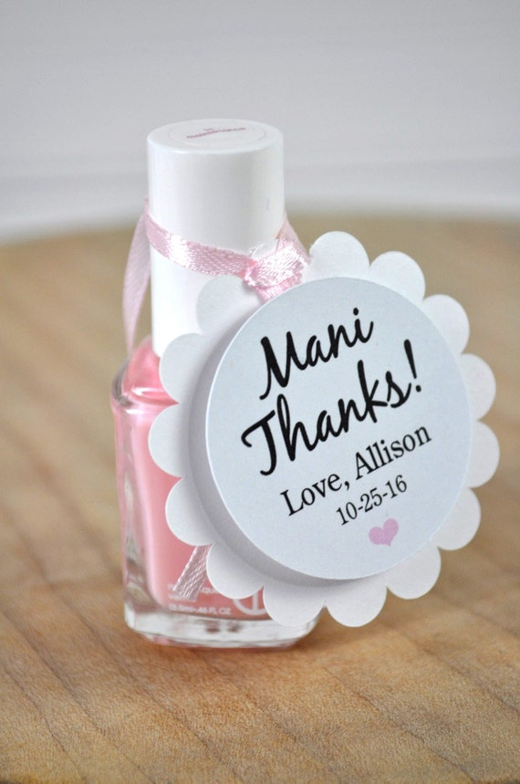 Mani Thanks Favor Tags Baby Shower Favor Tags Bridal Shower