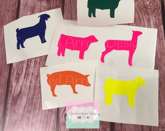 Stock Show Animal Decals    for any hard surface    pick your animal