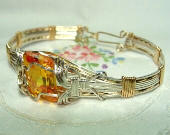 BRACELET with SWAROVSKI Yellow Topaz Set in STERLING Silver