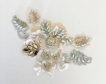 Gold/ivory beaded lace appliqué rhinestone applique crystal applique diy wedding