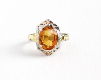 Vintage 10k White Gold Filigree Citrine Ring - Size 5 Art Deco 1930s Orange Gem November Birthstone Rose & Yellow Gold H of K Fine Jewelry