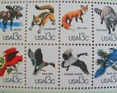 CAPEX 48 UNused Vintage US Postage Stamps 13c Wildlife from Canadian-United States Border Moose Red Fox Goose Save the Date Wedding Postage