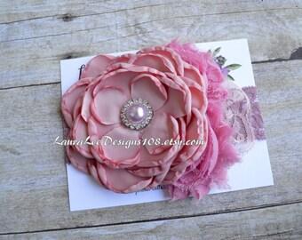 READY to SHIP Dusty Rose Pink Singed Satin Flower Headband, OTT Headband Photo Prop, 1st Birthday Headband, First Birthday, Smash Cake Prop