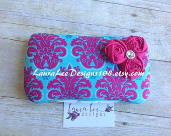 Pink and Turquoise Damask with Rolled Flowers Boutique Style Travel Baby Wipe Case, Personalized Wipe Case, Diaper Wipes Case, Wet Wipe Case