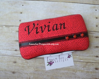 Lady Bugs Travel Baby Wipe Case, Baby Shower Gift, Diaper Wipe Case, Personalized Wipe Holder, Red Wipecase, Diaper Bag Wipe Case, Ladybugs