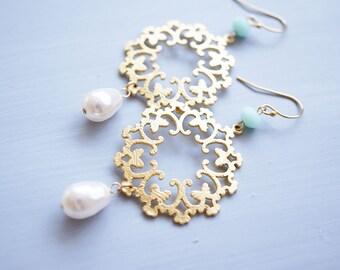 Earrings, Gold Earrings, Pearl Earrings, Swarovski Earrings, Snowflake Earrings, Mint Earrings, Handmade Earrings, Drop Earrings, Gift