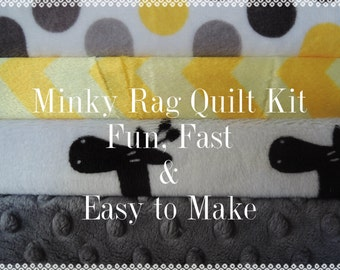 Quilt and a Half Size Rag Quilt Kit, 30 pieces of Minky Fabrics, Yellow, Grey, Giraffes, Bin F, Sewing Available