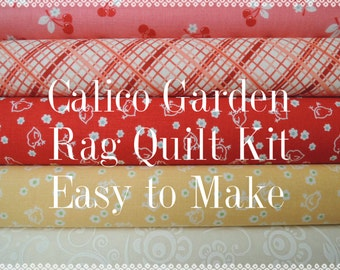 Calico Garden, Kit 2 Rag Quilt Kit,  Easy to Make, Personalized