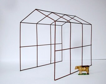 Rusty Wire Frame House Form / Sculpture / Art