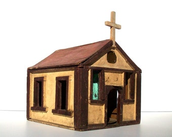 Vintage Primitive Folk Art Church / Very Distressed / Rustic Decor / Home Made / Little Wooden Church / Adorable