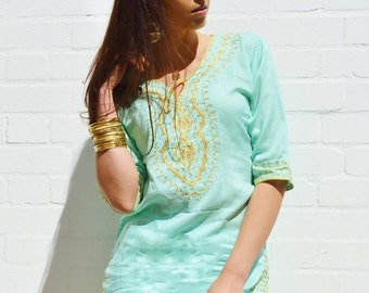 CIJ Sale Amira Style Emerald Green with Gold Embroidery Tunic-perfect for summer resort, birthday, beach wedding, bridesmaid gifts, Ramadan,