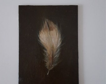 Good Luck Feather Original Oil Painting Feather