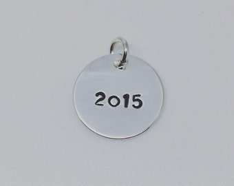 Hand Stamped Year Charm Round Silver