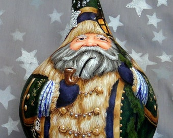 "Pirate Inspiration, hand painted Santa Claus gourd, Christmas, 9 1/2"" x 6 1/2"" diameter"