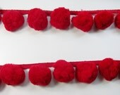 Giant Jumbo Red Pompom Bobble Ball Fringe Trim Big Pom Pom Sewing Needlework Craft 1 Yard