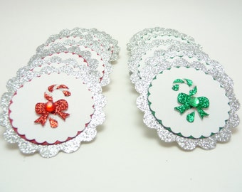 Candy Cane Embellishments, Set of 20 Glitter Christmas Tags, Holiday Embellishments, Paper Handmade Tags