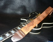 "Handmade Leather Guitar Strap. Natural Brown. ""Mescalito""."