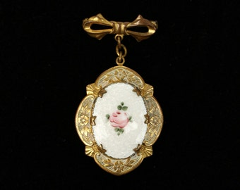 GUILLOCHÉ and painted rose • vintage 1930s locket brooch