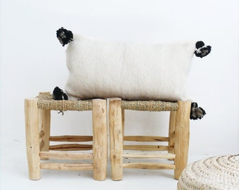 Moroccan POM POM Wool Pillow Cover - wool natural undyed