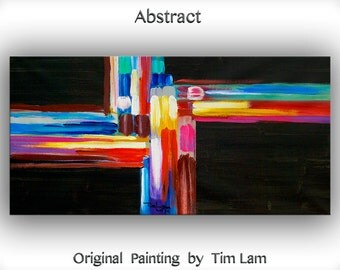 Modern original painting black n colorful art Oil Painting impasto stripe art Abstract Painting 48 x 24 linen canvas by Tim Lam