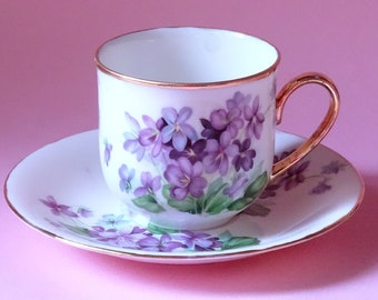 Violets cup and saucer