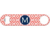 Custom Beer Bottle Opener Personalized Ikat Vine Monogram Custom Initial 21st Birthday Women Gifts for Her Barware Stainless Steel BO-1191