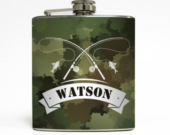 Fishing Camo Whiskey Flask Fisherman Rod and Reel Fly Camouflage Guys Groomsmen Dad Men Gift Stainless Steel 6 oz Liquor Hip Flask LC-1610