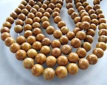 Tigerskin JASPER Beads in Golden Sienna Brown, 10mm - 11mm,  Round Smooth, 1 Strand, 16 Inches, Approx 39 Pieces