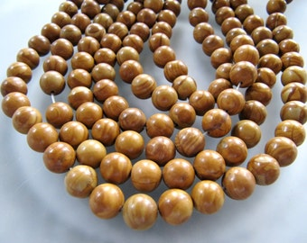 """Tigerskin """"Jasper"""" Limestone Beads in Golden Sienna Brown, 10mm to 11mm, Round Smooth, 1 Strand, 16 Inches, Approx 39 Pieces"""