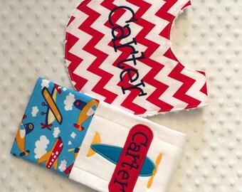 Baby Boy 2 Piece Gift Set,  Personalized Bib and Burp Cloth - Aeroplanes Everywhere