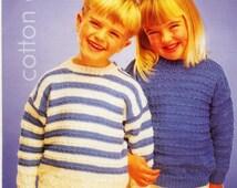 ViNTAGE KNiTTiNG Pattern  Cotton Aran Childs Striped and Plain Sweater Original Knitting Pattern